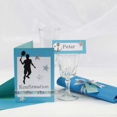 A turquoise Invitation and Table Decorations for a Confirmation Party