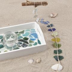 A painted Tray with Glass Mosaic