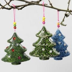 A Christmas Tree with Decoupage and Decorations