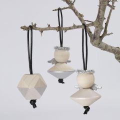 Christmas Hanging Decorations made from large wooden Beads painted with Art Metal Silver Paint