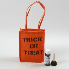 An orange Bag for Halloween decorated with Text