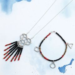 Matching Bracelet and Necklace with Rocaille Seed Beads and Pendants