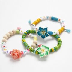 Elastic Bracelets with assorted Beads in Summer Colours