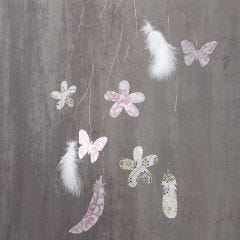 Hanging Decorations with Cut-Outs and Feathers on Brass Wire
