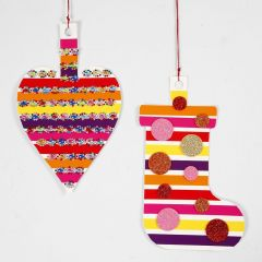 Card hanging Decorations with glazed Paper and Glitter Foam Rubber