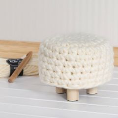 A Pouffe with a crocheted Cover from XL Chunky Yarn
