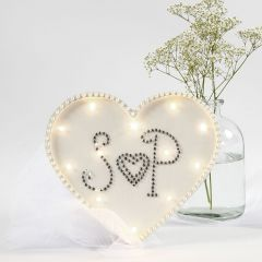 A heart-shaped Light Box decorated with Rhinestones and Half-Pearls