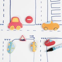 Cars and Road Signs from self-hardening Clay