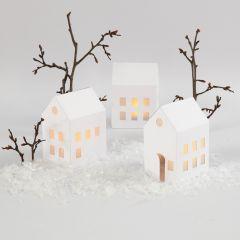 Illuminated Houses with LED Tea Lights