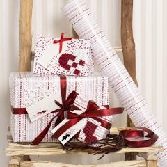Red and white Gift Wrapping decorated with Christmas Designs made from Nabbi Fuse Beads