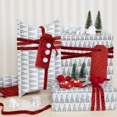 Christmas Gift Wrapping decorated with Pom-poms and  Miniature Figures