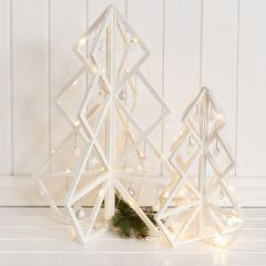 A wooden 3D Christmas Tree with Decorations and Christmas Baubles
