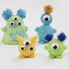 Pearl Clay Aliens with Googly Eyes and Pom-poms