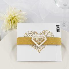 A Wedding Menu Card with gold glitter Design Paper and a Shaker Sticker