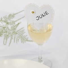 A heart-shaped Wedding Place Card with a Puffy Sticker