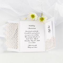 A two-fold Wedding Invitation decorated with lace patterned Card