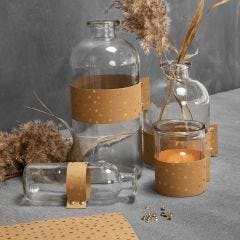 Glass Bottles and Candle Holders decorated with Faux Leather Paper