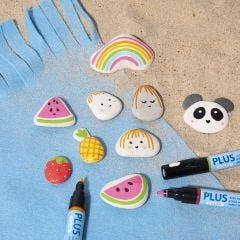 Paint on stones with Plus Color markers