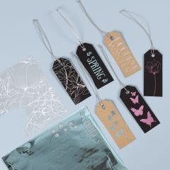 Manilla Tags decorated with Deco Foil and Glue Foil Designs