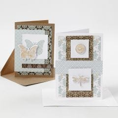 Greeting Cards decorated with Design Paper and punched-out Designs with Deco Foil