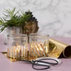 Candle Holders decorated with Gold Deco Foil Stripes