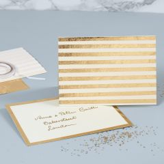 A pearlescent Greeting Card decorated with gold Deco Foil Stripes