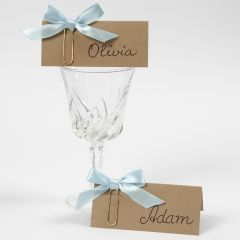 Place Cards made from recycled Card decorated with a Bow on a Paper Clip