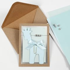 An Invitation for a Christening with a Card Giraffe and Letter Beads