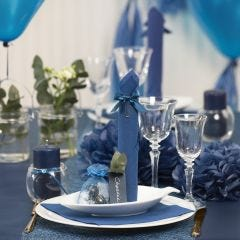 Dark blue Table Decorations with Paper Flowers, Balloons, a Napkin folded like a Tower and Place Cards