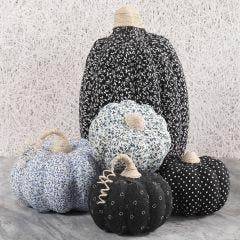 Papier-mâche Pumpkins decorated with Fabric Decoupage