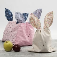A Bunny Bag made from Patchwork Fabric
