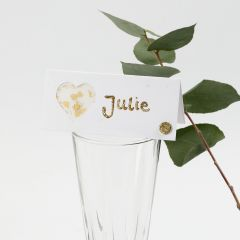 A Place Card decorated with a Vellum Paper Heart, Glitter, Deco Foil and Rhinestones