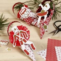 Cones decorated with Rosettes and Card Cut-outs from the Nutcracker Fairy Tale