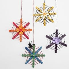 Hanging Decorations from Construction Sticks decorated with Cotton Cord and punched-out Flowers