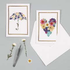 Greeting Cards with dried Flower Designs and a Deco Foil Frame