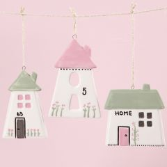 Porcelain Houses for hanging decorated with Glass & Porcelain Paint