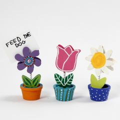 Wooden Flower Memo Holders decorated with Craft Paint