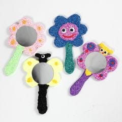 Wooden Hand Mirrors decorated with Foam Clay