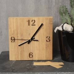 A clock box decorated with bamboo veneer