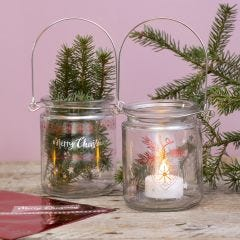 Glass lanterns decorated with glue foil designs