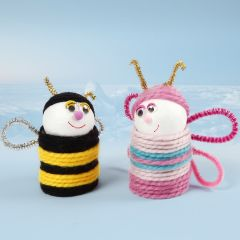 Insects from cardboard tubes and polystyrene balls covered with yarn