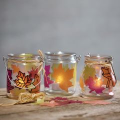Lanterns with punched-out leaves
