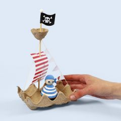A pirate ship made from an egg tray