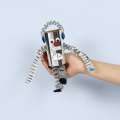 A robot from a cardboard tube