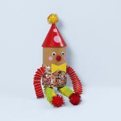 A clown from a cardboard tube