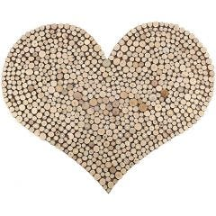 A large Heart with a Pattern made with wooden Discs
