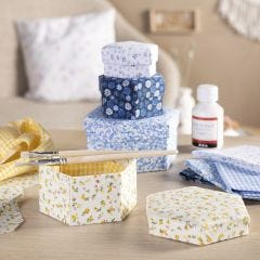 Boxes with fabric decoupage