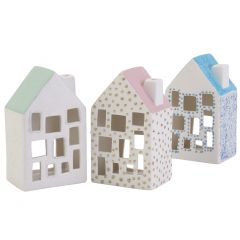 Cosy ceramic houses with glitter details