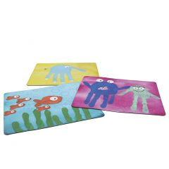 Colourful mouse mats with fingerprints