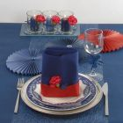 Blue Table Decorations with a Touch of red